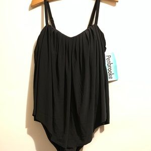 NWT PENBROOKE PLEATED ONE PIECE SWIMSUIT SIZE 10